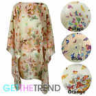 Womens Floral Butterfly Poncho Ladies Loose Kaftan Tunic Beach Summer Top