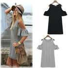 Women Boho Butterfly Sleeve off Shoulder Loose Long Vest dress T shirt Summer