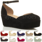 WOMENS LADIES MID WEDGE FLATFORM PLATFORM ANKLE STRAP COURT SHOES SANDALS SIZE