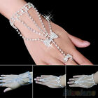 Nice Womens Bridal Wedding Crystal Slave Chain Bracelet Hand Harness Finger Ring