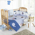 NAUTICAL BOAT SHIPS EMBROIDERED NURSERY BABY QUILT DUVET COVER COT BED BLUE