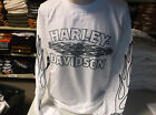 Harley-davidson Men's long sleeve ghosted flames white shirt