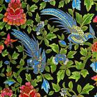 Metallic Gold, Blue, Coral, Green on Black Asian Birds Cotton Fabric by Hoffman