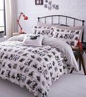 BARKING MAD PUG BULLDOG DOGS HOUNDS REVERSIBLE DUVET QUILT COVER BEDDING SET NEW