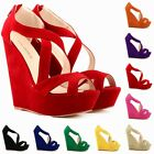 WOMENS LADIES FAUX SUEDE PLATFORM TOE High Heels WEDGE SHOES SANDALS  Size 2-9