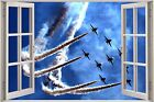 Huge 3D Window Jet Fighter Planes View Wall Stickers Mural Art Decal A1125