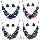 Wedding Crystal Flower Bridal Necklace Earrings Sets Women Jewelry Set Party
