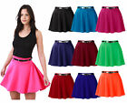 Womens Plain Belted Skater Skirt Ladies Mini Full Flared Party Skirt Sizes 10-16