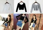 Womens Tights Cotton Long Sleeve Crop Top Crew Neck Short T Shirt Blouse Summer