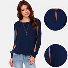 Women Summer Sexy Casual Loose Long Sleeve Chiffon T-Shirt Top Blouse Shirt Blue
