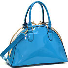 New Women Handbag Patent Leather Structured Satchel Gold Tone Hardware Tote