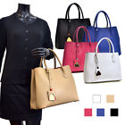Women Clssic Handbag Colorblocked Faux Leather Tote Bag with Removable ID Tag