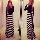 Women Striped Summer Long Maxi Empire Waist Cocktail Party Beach Chiffon Dress I
