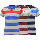 Mens Polo T Shirt Kangol Top Jersey Marl Striped Short Sleeved Casual Summer New