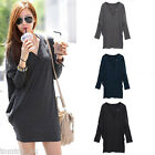 Women Lady Batwing Long Sleeve Blouse V-Neck Casual Tops T-Shirt Mini Dress