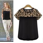 1x New Women Leopard Printing Chiffon Short Casual T-Shirt Tops Blouse Reliable