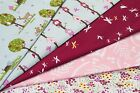 100% COTTON PRINT FABRIC - WOODLANDS THEME - FERN & FLOWERS
