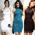2015 Women Sexy Polo Neck Floral Lace Evening Mini Dress Party Clubwear Trendy