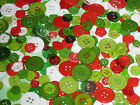500 Light Weight Craft flatback Buttons round Christmas Mix stockings cards bags