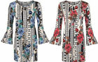 Womens Plus Size Floral Print Long Flared Sleeve Keyhole Neck Ladies Top 14-28