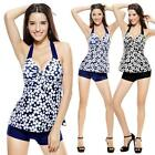 Women Push-up Padded Halter Neck Floral Swimwear Tankini Swimsuit Beachwear