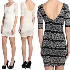 TheMogan Lace Overlay 3/4 Sleeve Scoop Neck Fitted Bodycon Dress