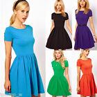 Women Girls Pleated Cotton Slim Short Sleeve Cotton Skater Party Dress S M L New
