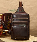 Men Vintage Geunine Leather Travel Sling Shoulder Cross Body Messenger Chest Bag