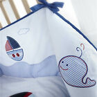 NAUTICAL BOAT SHIPS LIGHTHOUSE EMBROIDERED NURSERY BABY COT BUMPER BLUE