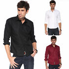 Men's New Long Sleeve Slim Fit Shirts Check Plain Pattern T-Shirt Size S-XL