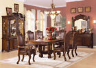 Formal Collection Dining Table Chair Set European Design Cherry-Brown Leather