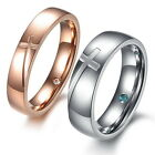 1 PC Stainless Steel Ring Couple Rings Band Cross Wedding Engagement