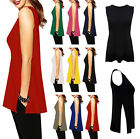 Womens Double 2 Side Split Plain Sleeveless Tank Top Ladies Casual Vest Top