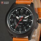 Shark Army Men Date Day Military Outdoor Quartz Leather Sport Wrist Watch