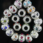 Tibetan Silver Alloy Crystal Charm Spacer Big Hole Beads Fit European Bracelets
