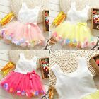 Baby Kids Girl Toddler Princess Pageant Party Tutu Lace Bow Flower Floral Dress