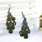 Fashion Bright Rhinestone Retro Bohemia's Coloreful Peacock Dangle Earrings