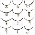 Men Women Tibetan Silver Inspired Pendant Choker Necklace Black Leather Cord