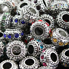 Alloy Big Hole Crystal European Charm Spacer Loose Findings Beads Fit Bracelets