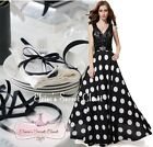 BNWT PERRIE Black & White Lace Polka Full Length Evening Ballgown Dress UK 6 -18