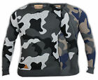 Mens Jumper Army Military Camouflage Knit Rock & Revival Sweater Pullover Crew