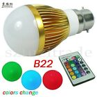 E27/B22/GU10/E14 LED RGB 3W 16 Colors Change Lamp Light Bulb+Remote Controller