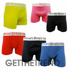 Mens Plain Urban Boyz Cotton Boxer Shorts Men's Black Blue Red 3 Pack Multipack