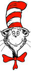 "3-10"" DR SEUSS CAT HAT  FACE CUSTOM  HEAT TRANSFER IRON ON CHARACTER"