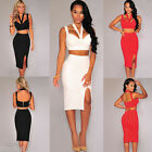 Sexy Women Pencil Skirt Bodycon Dress Crop Top Halter Neck Two-piece Party Dress
