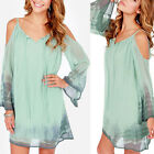 Sexy Women Long Sleeve Evening Cocktail Party Short Mini Dress Green