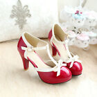 LL Fashion classical womens pumps T-strap PU patent round toe bowknot high heels