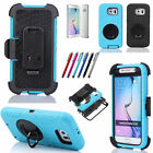For Samsung Galaxy S6 Shockproof Impact Case Cover with Holster Belt Clip Stylus