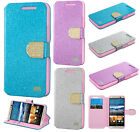 HTC One M9 Premium Diamante Glitter Leather Wallet Flip Phone Case +Screen Guard