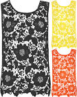Womens Floral Crochet Lace Detail Flower Keyhole Back Sleeveless Ladies Vest Top